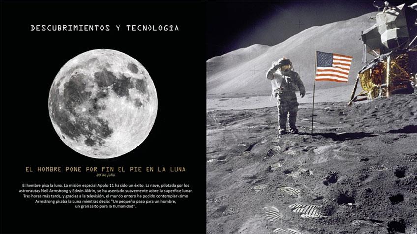El hombre pisa la luna año 1969